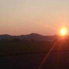 庄内平野の夕日